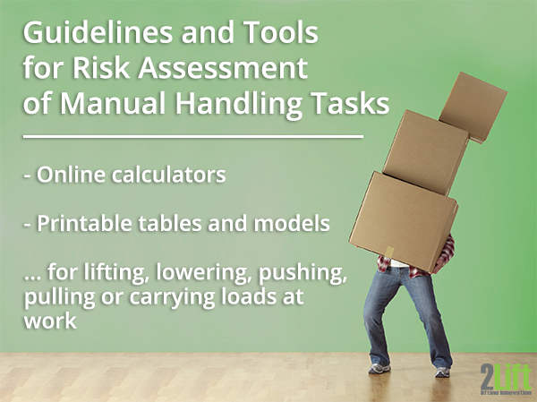 Guidelines, calculators and ergonomic assessment tools for risk evaluation of manual handling tasks.