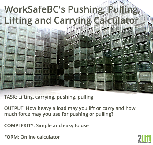 WorkSafeBC's manual handling calculator for ergonomic assessments of lifting, carrying, pushing and pulling.