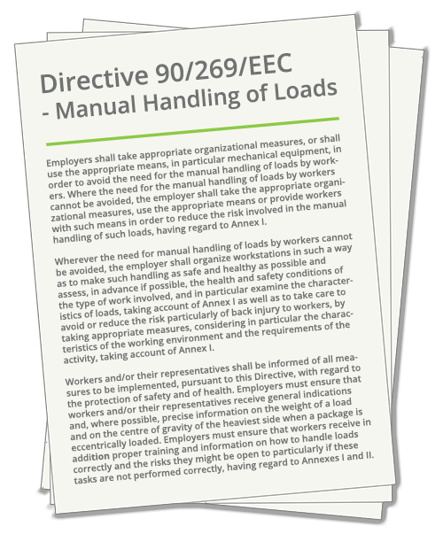 EU Directive 90/269/EEC, the manual handling directive.