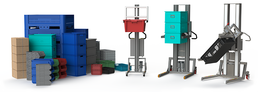 Industrial material lifting equipment for lifting and handling all types of boxes.