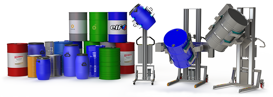Ergonomic drum lifting equipment for lifting and handling drums, vessels, containers and other storage units.