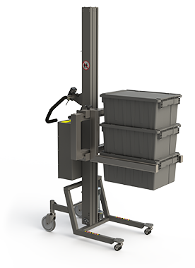 Industrial lifting and handling solution with an adjustable fork carrying boxes.