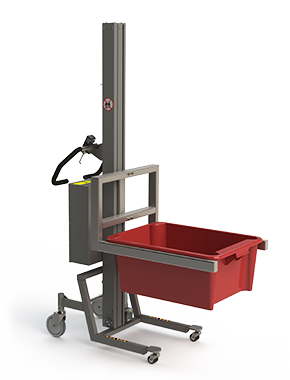 Material lifting equipment with fork and a red box.