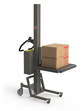 Industrial platform lifter with platfom rollers and cardboard boxes.