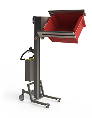 Material handling lift with double fork for carrying and handling (tipping) boxes.