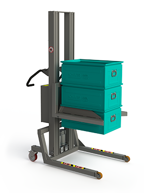 Strong material lifting equipment with a fork fitted with self-clamping edges ideal for lifting metal boxes.