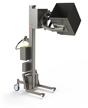 Lifting and handling solution for rotating and tipping a box.