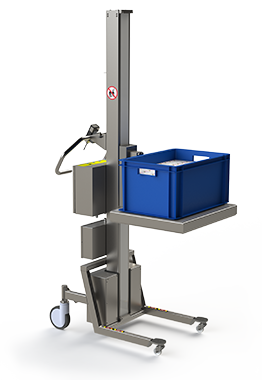 Electric lifter in stainless steel. Platform with plastic box.