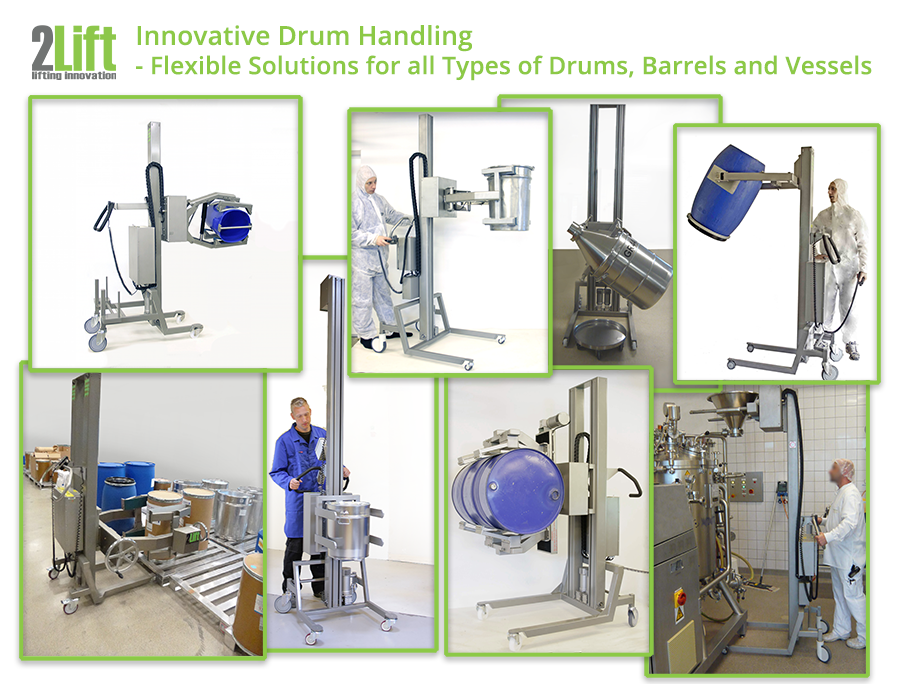 Innovative and flexible electric drum handling solutions for all manners of drums, barrels and vessels. 2Lift ApS