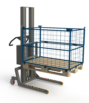 Industrial pallet lifters: Euro pallet with cage small. 2Lift
