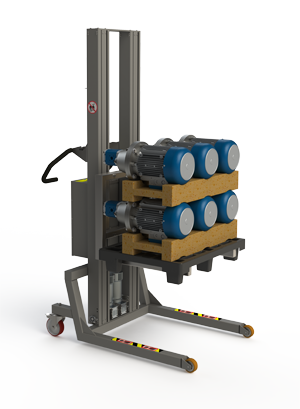 Adaptable pallet handling equipment. Half pallet with motors. 2Lift