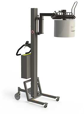 This manual reel manipulator (MRM) is a semi electric roll handling solution with core grip. 2Lift ApS.