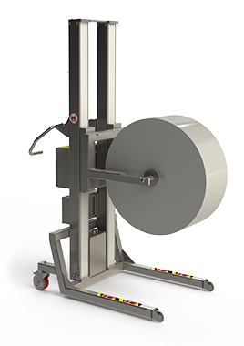 Stainless steel roll lifting equipment for lifting and handling very heavy rolls and reels.