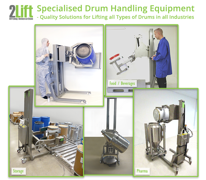 Specialised drum handler equipment for lifting all manners of drums and vessels in industries such as pharma, food and beverages, storage.
