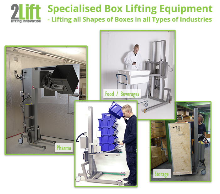 Flexible and electric material handling lift for boxes. To lift and handle all types of boxes in all types of industries. 2Lift ApS