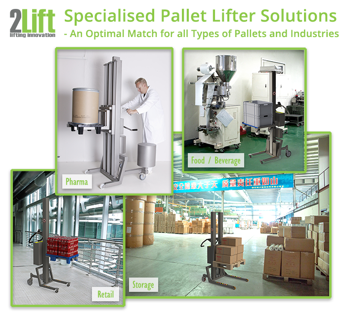 specialized pallet lifter equipment for lifting all types of pallets in all types of industries, e.g. pharma, food and beverage, storage and retail. 2Lift ApS.