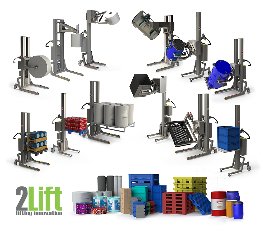 Lifting and handling solutions such as roll lifting equipment, drum handling equipment, electric pallet stacker products and lifting devices for boxes.
