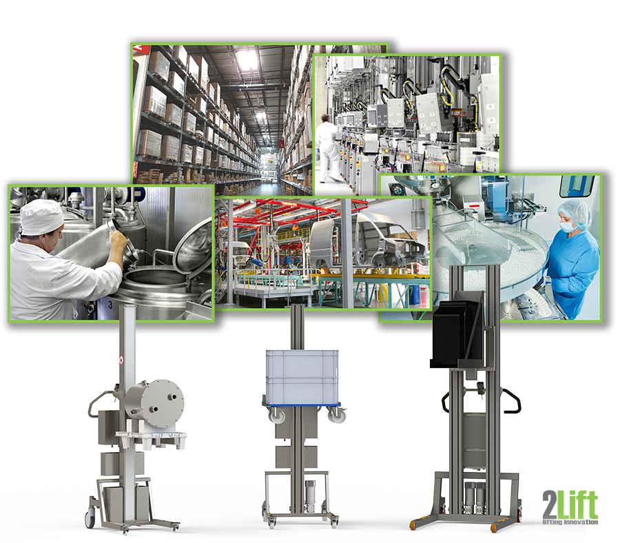 Industrial material handling equipment for all industries: pharma, food, storage, automotive and tech. 2Lift ApS.