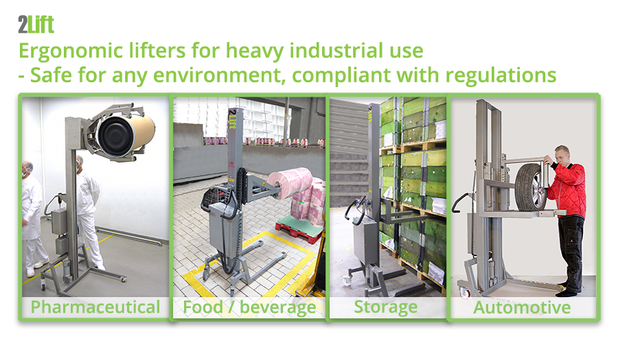 Industrial lift equipment for any industry: pharma, food and beverage, storage, automotive etc.