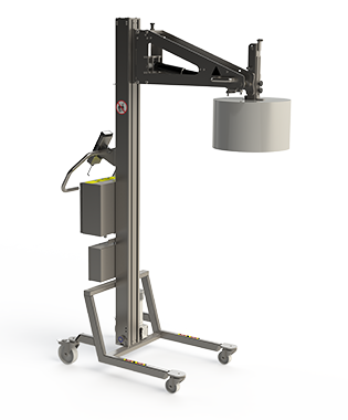 Roll / reel lifter for handling e.g. paper. Stainless steel and corrosion resistant material handling equipment.
