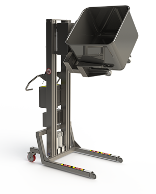 Electric stainless steel lifter for trolley handling in the food and beverage industry.