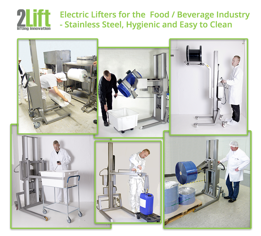 Hygienic, easy to clean, stainless steel electric lifter equipment for the food and beverage industry