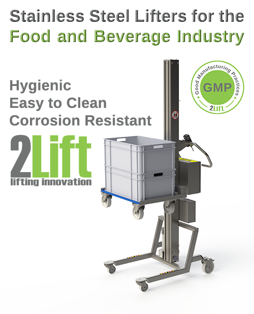 Hygienic electric lifter for the food and beverage industry. Lifting a dolly. 2Lift ApS.