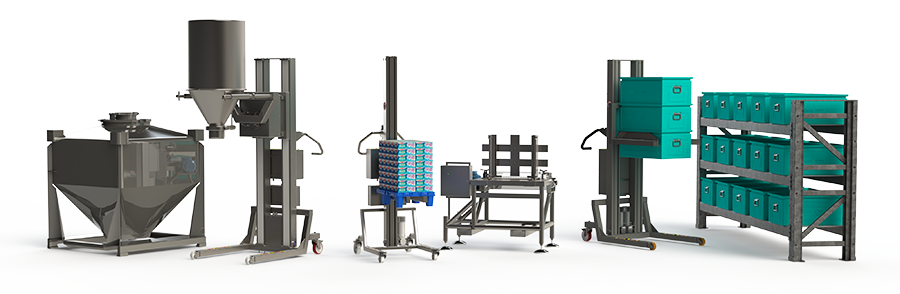 Industrial material handling equipment for the food and beverage, pharmaceutical and storage industry.