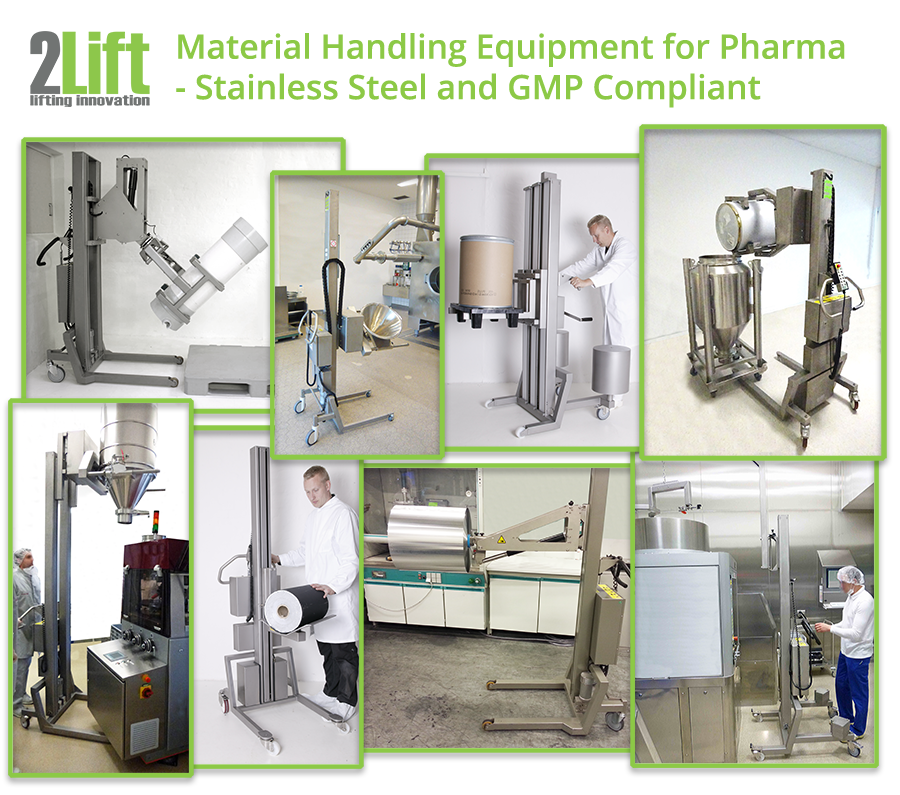 Stainless steel cleanroom equipment as material handling lifters for the pharma industry. 2Lift ApS