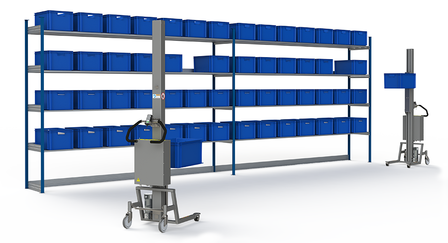Material handling equipment for lifting boxes in the storage industry.
