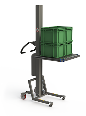 Material handling machinery for storage featuring a platform with rollers and plastic boxes.