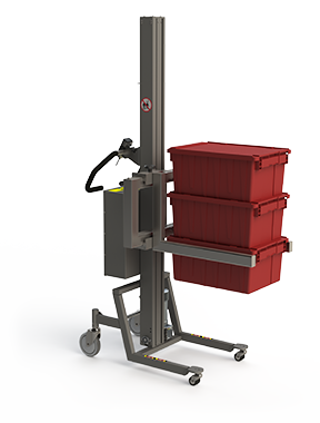 Material handling equipment with adjustable fork and red boxes.