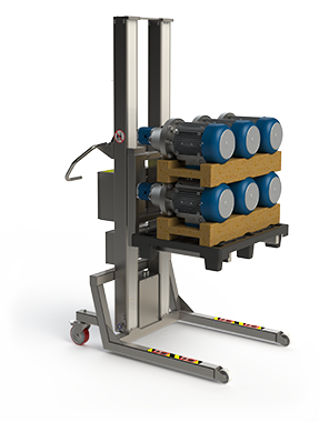 Electric pallet lifter solution to lift half pallet with e.g. motors.