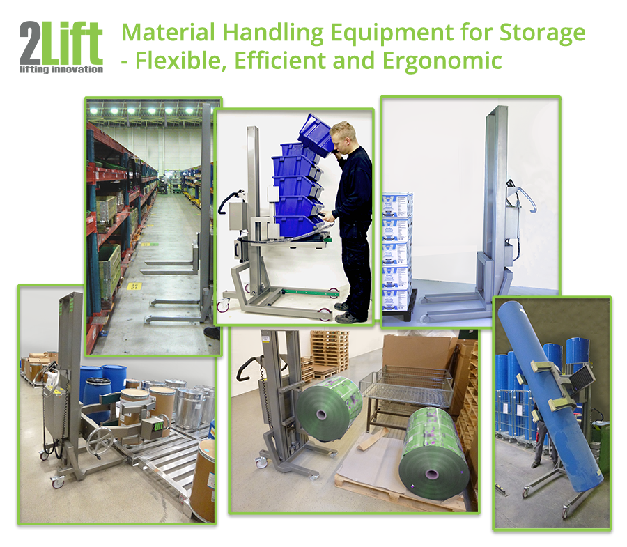 Electric storage handling machinery for lifting heavy boxes, drums, pallets and rolls. 2Lift ApS.