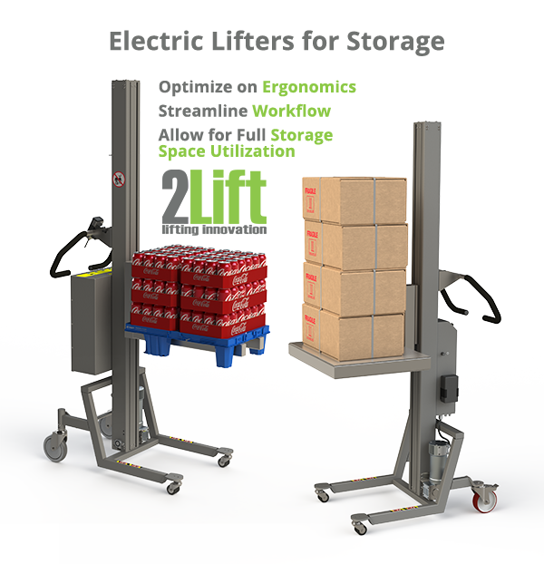 Ergonomic storage handling machinery for more efficient workflow. Easy lifting of boxes and pallets. 2Lift ApS.