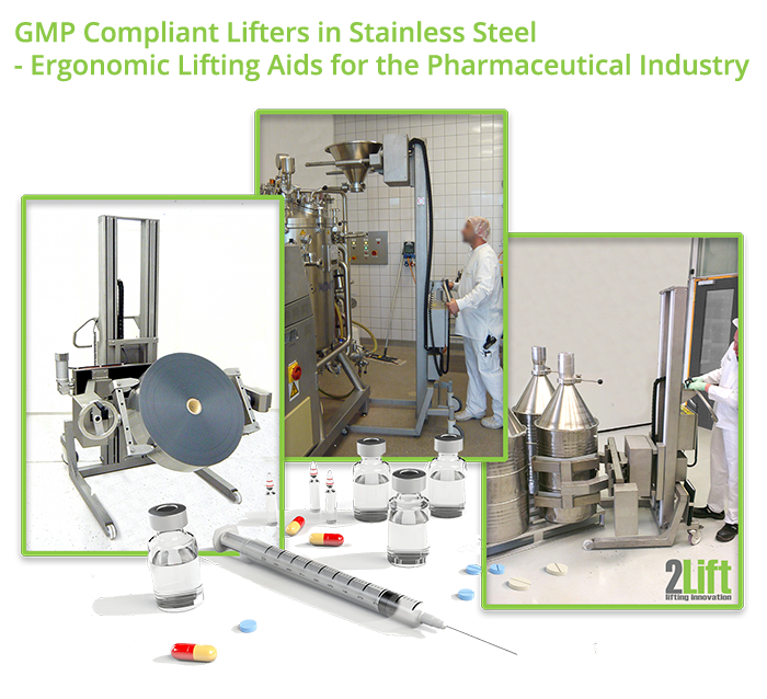 Industrial material handling equipment for the pharma industry and medicinal industry. Pharma lifters.