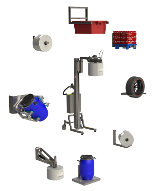 Industrial material handling equipment for lifting and handling rolls, boxes, pallets, and drums.