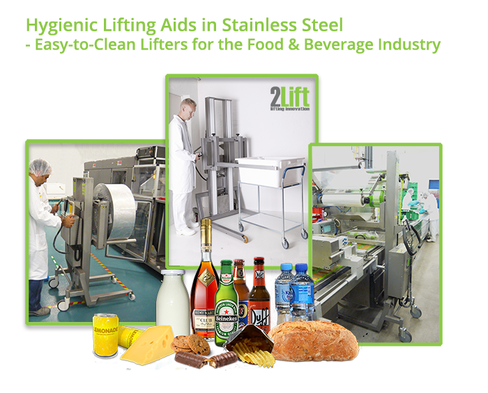 hygienic electric lifters in stainless steel for the food and beverage industry.