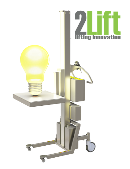 2Lift logo and material handling lift with light bulb